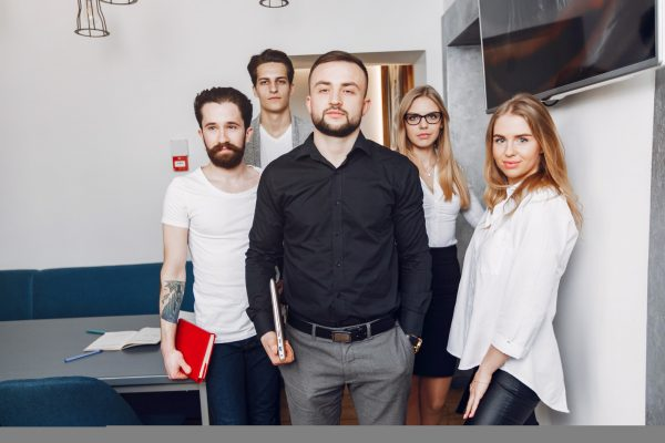 Stylish business people working in a office